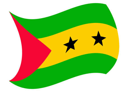 sao tome flag moved by the wind