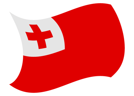 tonga flag moved by the wind