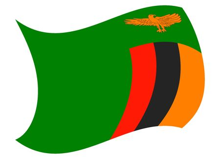 zambia flag moved by the wind