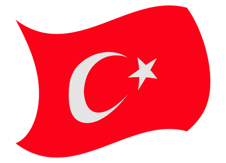 turkey flag moved by the wind Illustration