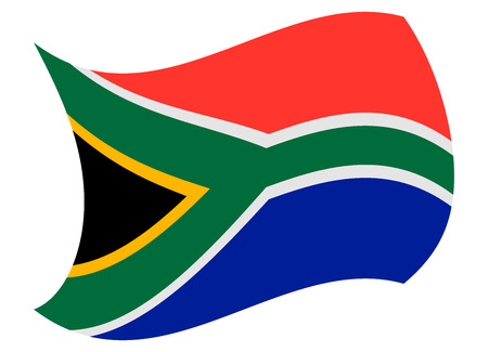 south africa flag moved by the wind