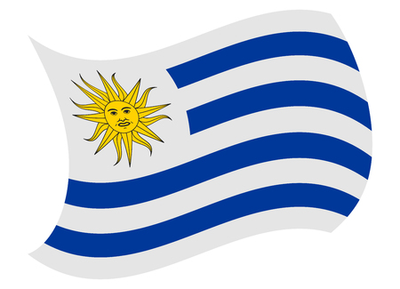 uruguay flag moved by the wind Illustration