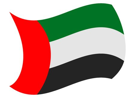 United Arab Emirates flag moved by the wind 向量圖像