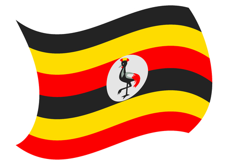 uganda flag moved by the wind