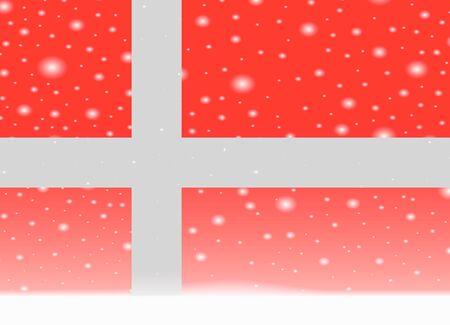 크리스마스 배경에 덴마크 플래그 일러스트