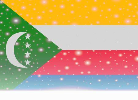 comoros flag on christmas background