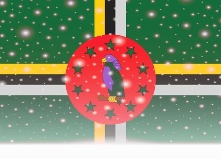 dominica flag on christmas background