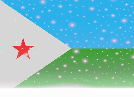 djibouti flag on christmas background