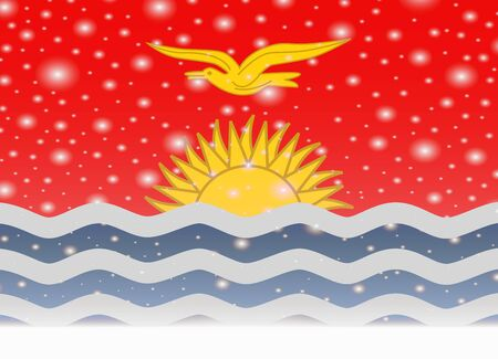 kiribati flag on christmas background