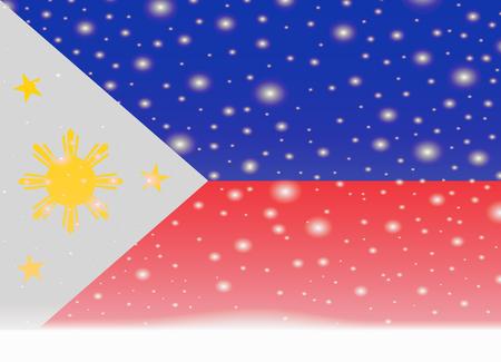 Philippines flag on christmas background.