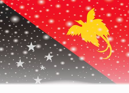 Papua new guinea flag on christmas background