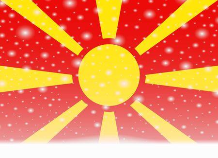 Macedonië vlag op Kerstmis achtergrond Stock Illustratie
