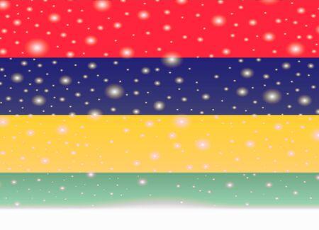 Mauritius flag on christmas background Illustration