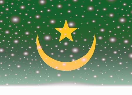 Mauritania flag on christmas background