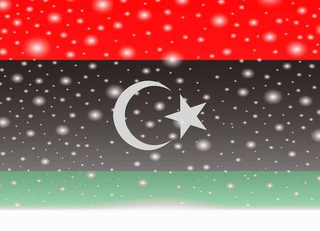 Vlag van Libië op Kerstmis achtergrond