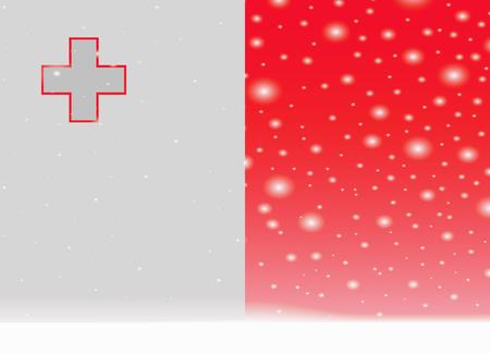 크리스마스 배경에 몰타 국기 일러스트