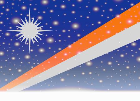 クリスマスの背景にマーシャル諸島の旗