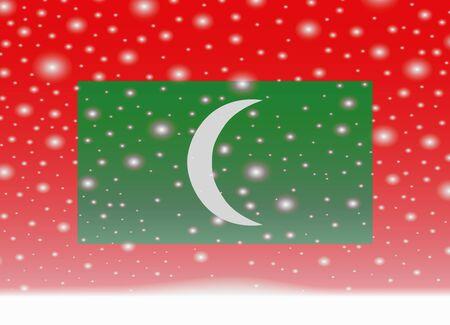 クリスマスの背景にモルディブの旗