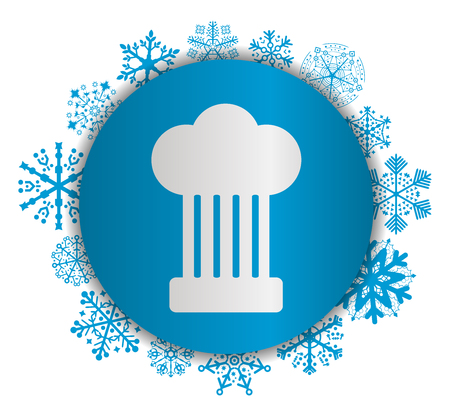 Chef cooking Christmas icon. Illustration