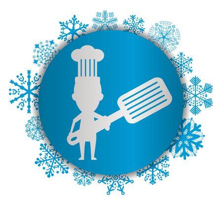 Chef Christmas icon. Illustration