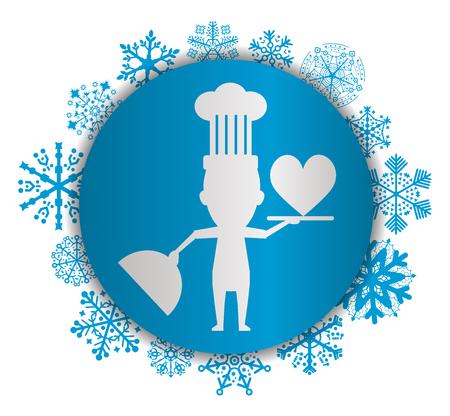 Chef and love Christmas icon.