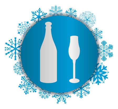 Bottle and cup Christmas icon.