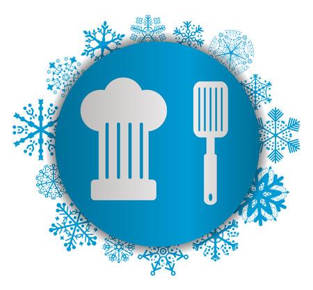 Chef equipment Christmas icon. Illustration