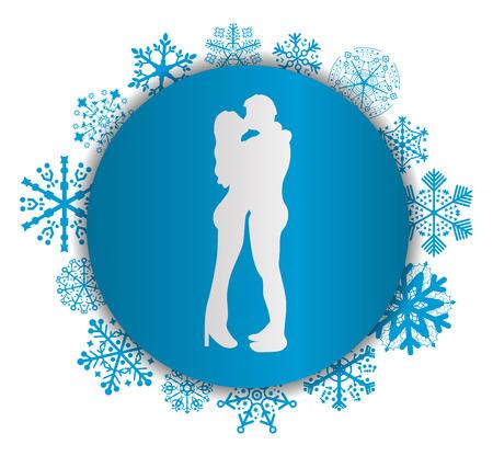 Kissing couple Christmas icon.