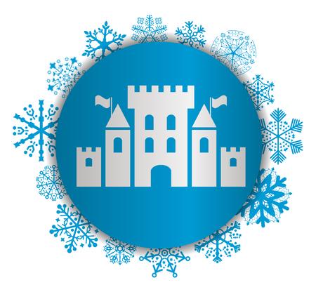 Fantasy castle Christmas icon.