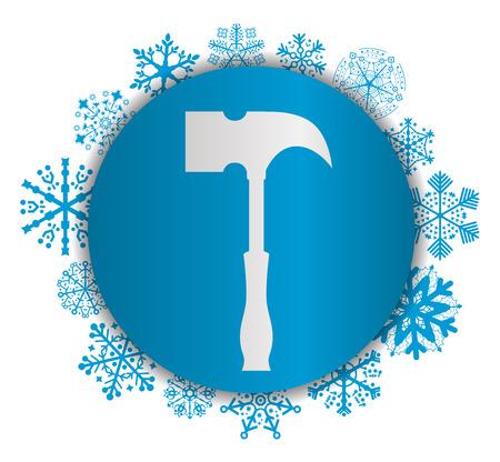 Hammer Christmas icon. Illustration