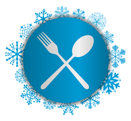 Fork and spoon Christmas icon.
