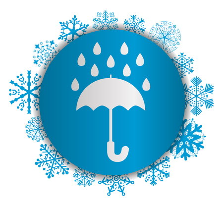 Umbrella rain Christmas icon.