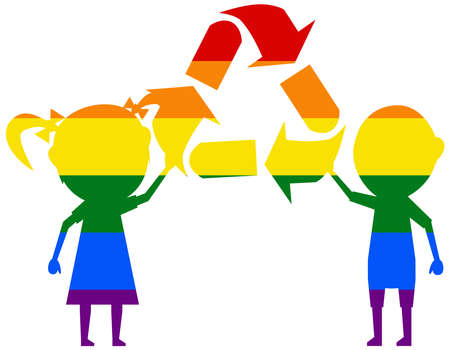 children and recycling LGBT flag. gay, lesbian, bisexual and transgender icon vector