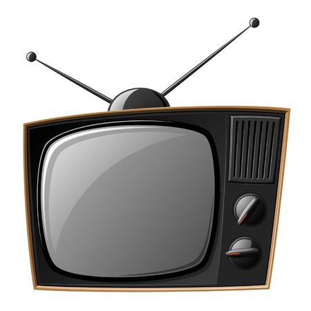 Old TV set isolated on white Vector