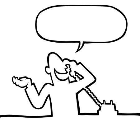Black And White Line Zeichnung einer Person, die eine Gespr�ch am Telefon. Illustration