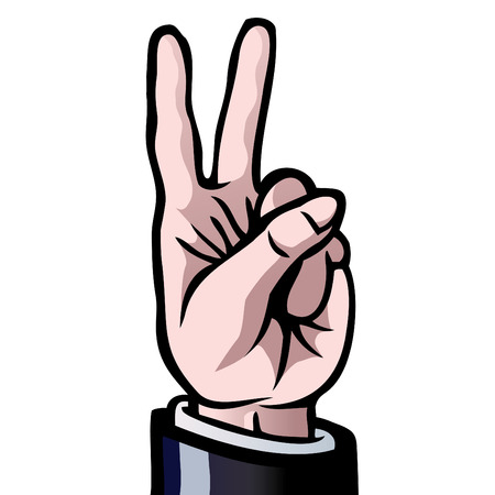 twice: A hand with two fingers held up, showing the number two. Also the gesture for peace. Illustration