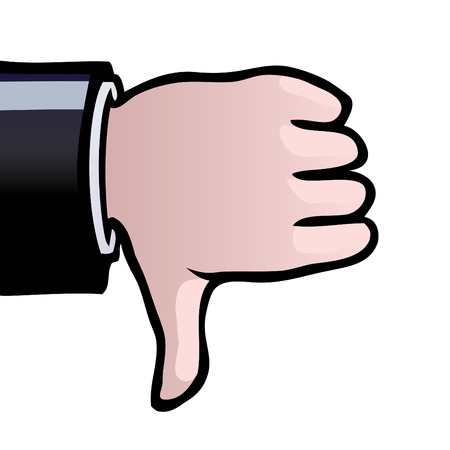 thumb down: A hand showing a thumbs down as a sign of disapproval. Illustration