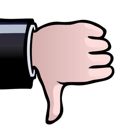 Eine Hand zeigt einen Daumen nach unten als ein Zeichen der Ablehnung.