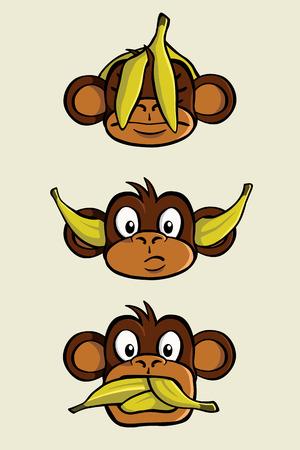 Trzy mądre małpy z przysłowia  Ilustracje wektorowe