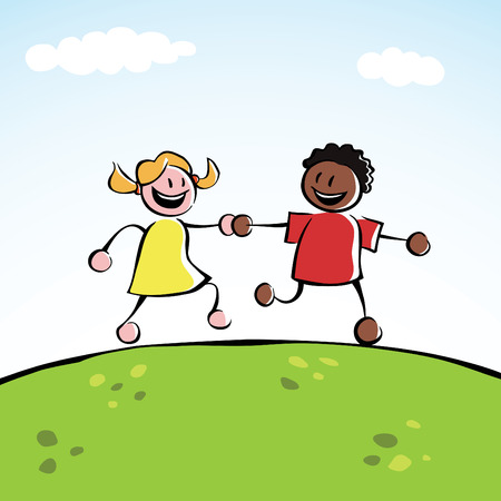 Two kids (boy and girl of different ethnicities) holding hands and running together on a grassy hill. Zdjęcie Seryjne - 7863574
