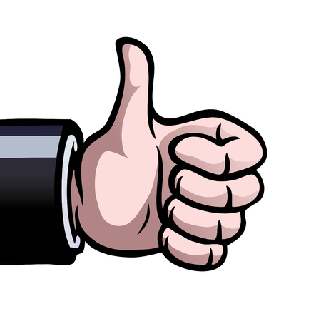 A hand showing a thumbs up as a sign of approval.