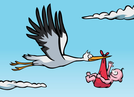 delivery boy: A flying stork with a baby in a red cloth. Illustration