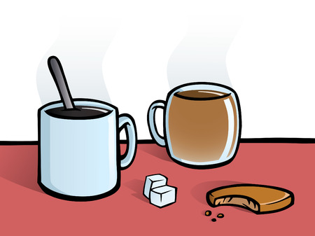 A hot cup of coffee and a cup of tea with a spoon, sugar cubes and a cookie. Standard-Bild - 7863564
