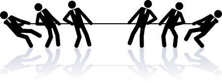 Dos equipos de gente de negocios (cifras de palo) están compitiendo en una cuerda tirando de concurso.  Ilustración de vector