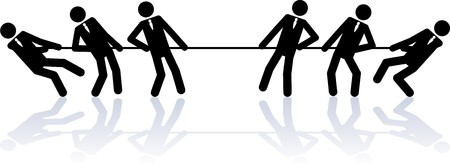 perseverance: Two teams of business people (stick figures) are competing in a rope pulling contest. Illustration