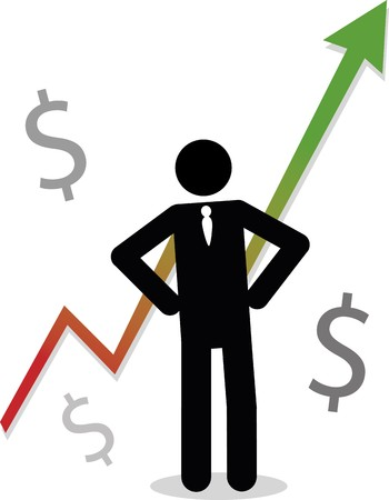 A business man stick figure stands in front of a graph showing profit, surrounded by money symbols. Vector
