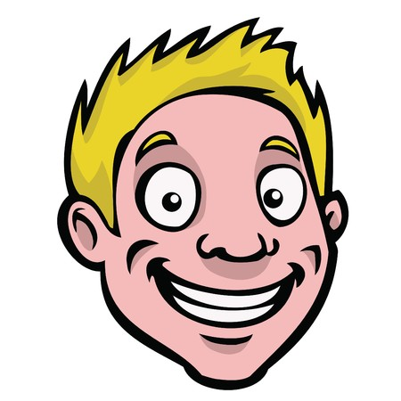 people smiling: A happy, smiling cartoon guy with blonde hair. Illustration