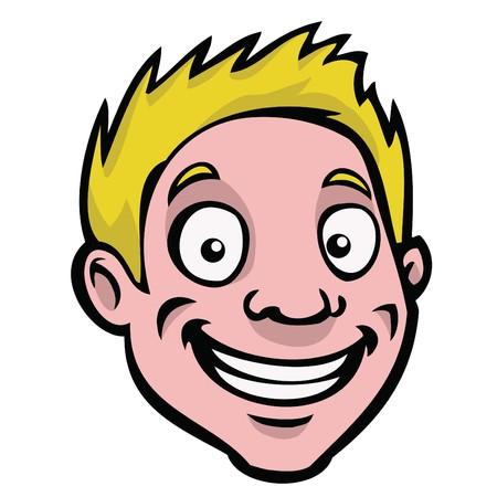 Ein gl�ckliches, smiling Cartoon-Kerl mit blonden Haaren.