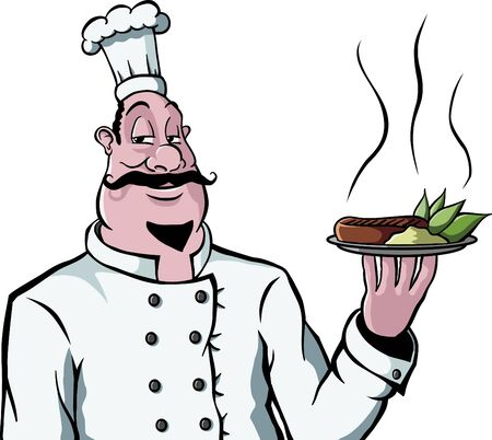 A happy chef with moustache holding up a plate of food (steak, vegetables and mashed potatoes).