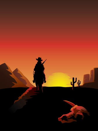 A lonesome cowboy on a horse rides off into the sunset in a barren desert with an animal skull in the foreground. Illustration